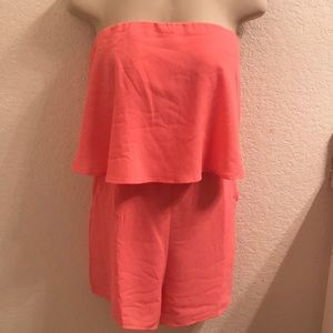 Coral sleeveless romper. New! Size large